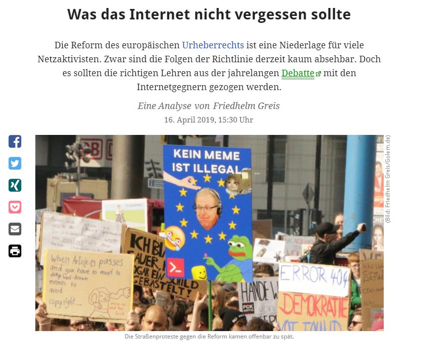 Beitrag bei golem.de vom 16.04.2019 zu den Demonstartionen gegen die EU-Urheberrechtsreform